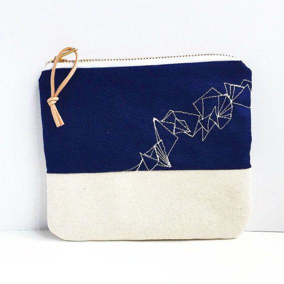 Medium zipper pouch, geometric embroidery pattern, triangle purse, embroidered purse, blue pencil case
