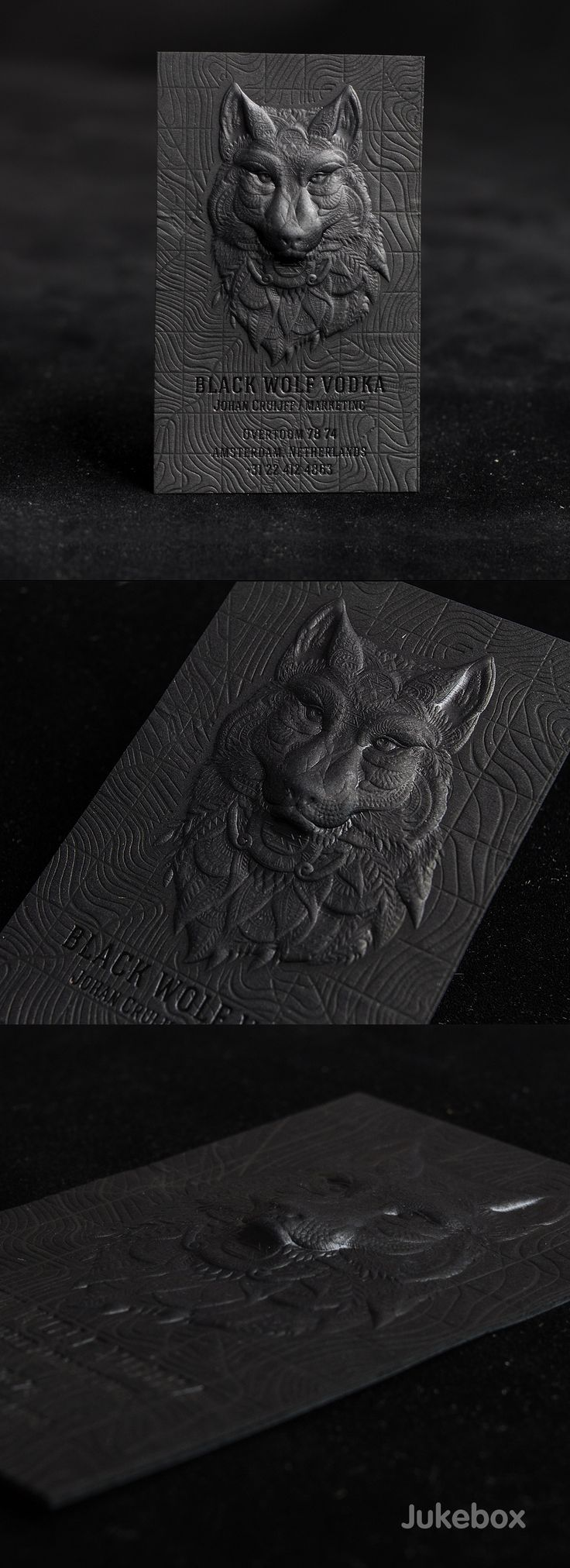 Amazing 3D Embossed Black Business Card  These outstanding black business cards feature an impressive combination of premium print services used to create the multi-level design and achieve unbelievable detail. A strong 30pt Onyx Black paper was 3D embossed in different levels to bring the wolf head to life. Produced by Jukeboxprint.com. #Jukeboxprint