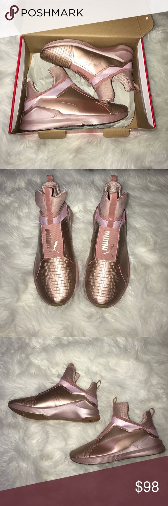 Puma Fierce (rare rose gold) PUMA, Fierce metallic rose gold sneaker, slide on, US WOMENS 8, Brand new with box (too small for me) I purchased the same pair in a bigger size... Definitely a statement sneaker! Puma Shoes Athletic Shoes