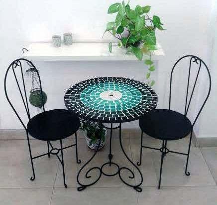 mesa de hierro forjado con venecitas 60 cm diámetro