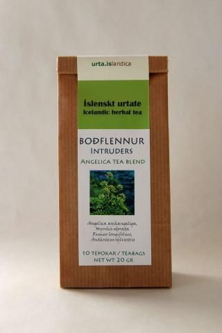 Flu Tea, Angelica tea blend - Intruders.  Contains 80% Angelica leaves (Angelica archangelica), 20% Sweet cicely (Myrrhis odorata) and Northern dock (Rumex longifolius). All are well-known medicinal herbs, long used to combat illnesses and epidemics. Research carried out at the laboratories of the Science Institute of the University of Iceland  has shown that Angelica contains substances that have bactericidal, anti-viral and anti-fungal properties and also substances