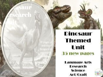 This is a unit of work based around the theme of dinosaurs. The unit is heavily biased towards research, literacy and science.  This unit is the updated version of a previous unit on dinosaurs, featuring an extra 35 pages of activities.  There are 65 pages of activities which can be spread over 4 weeks, The project topics included could be researched in depth which would assist students understanding of the topic and increase the length of time required to complete the unit.