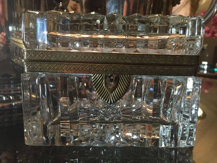 Antique French Baccarat Style Crystal Casket Jewelry Box in Antiques, Decorative Arts, Glass   eBay