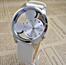 Moda Mickey mujeres relojes 2015 cuarzo ocasional transparente hollow dial pulsera de cuero mujer vestido reloj relogio feminino(China (Mainland))