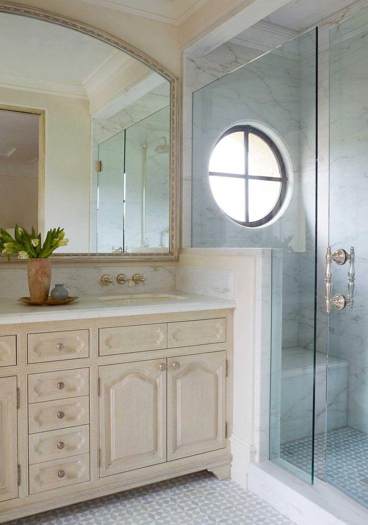 Bathroom With Double Vanity Single Mirror Walk In Shower