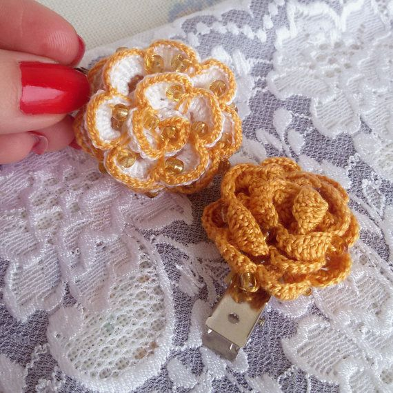 2 yellow crochet hair clips crochet rose clips by Rocreanique on Etsy