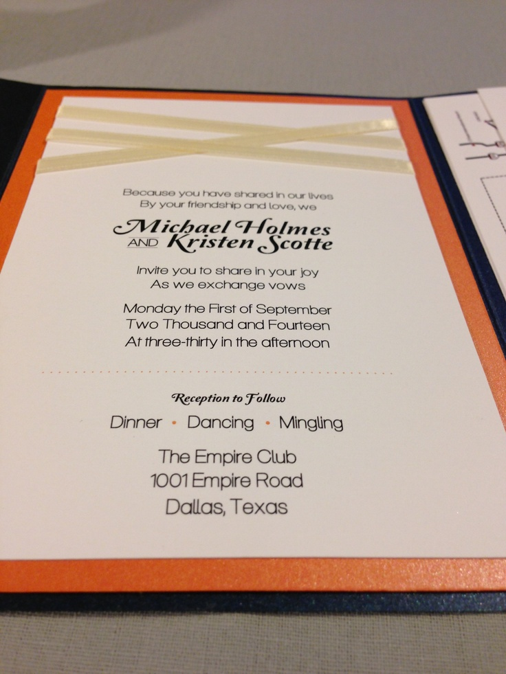 8 best Navy blue and orange wedding invitation set images on ...