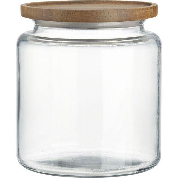 Crate & Barrel Montana 96 oz. Acacia and Glass Jar ($20) found on Polyvore