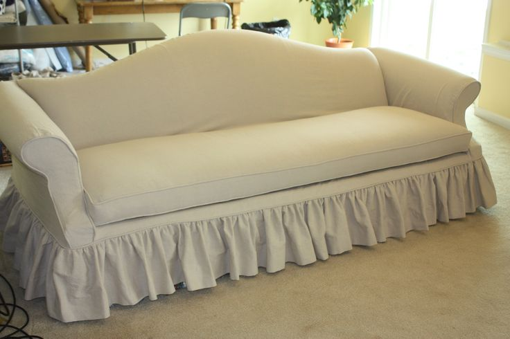 Drop Cloth Sofa Slipcover With Gathered Skirt At Twill