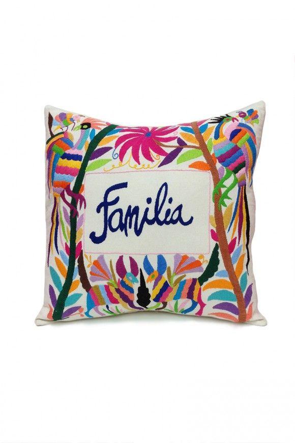 """Otomi Embroidered Pillow - """"Familia"""""""
