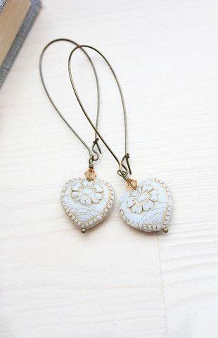Antiqued White Heart Earrings ~ Glass Dangles