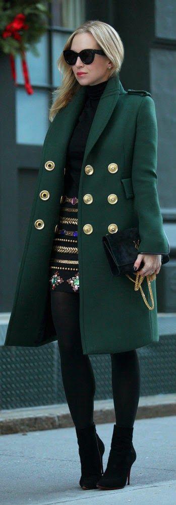 WHEN FASHION MEETS ART - Green Long Sleeve Coat with Black Jewel And Gold Embellished Midi Skirt / Brooklyn Blonde #stylishclub