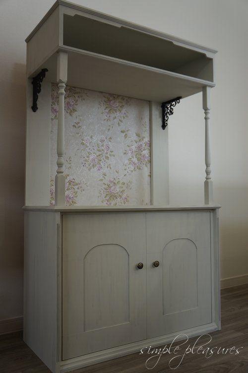 7 steps of DIY instruction how to make & paint a french & antique style - shabby chic furniture.『DIYでシャビーシックなインテリア&ガーデニング』シャビーシック フレンチ ペイント家具 プリンタ台