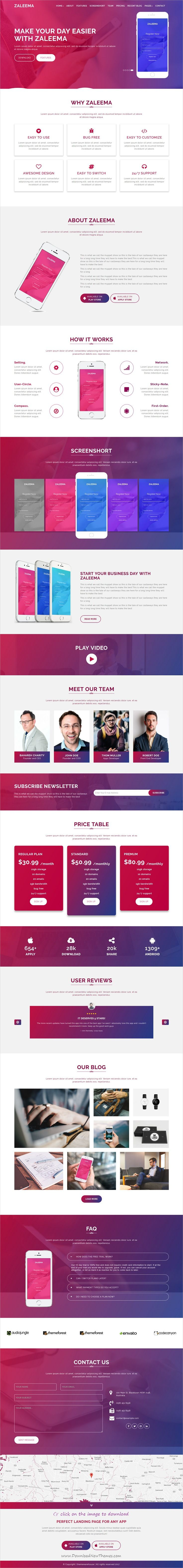 Zaleema is clean and modern design 3in1 responsive #HTML5 template for creative app #landingpage website to download click on image.