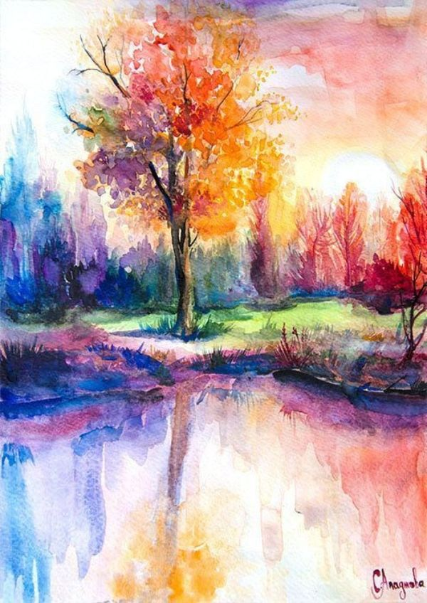 45 Easy And Simple Watercolor Painting Ideas In 2020 Nature Art