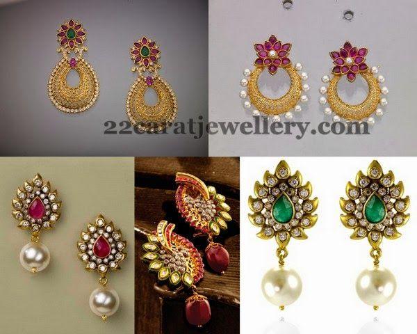 Simple Drops Earrings Floral Design | Jewellery Designs