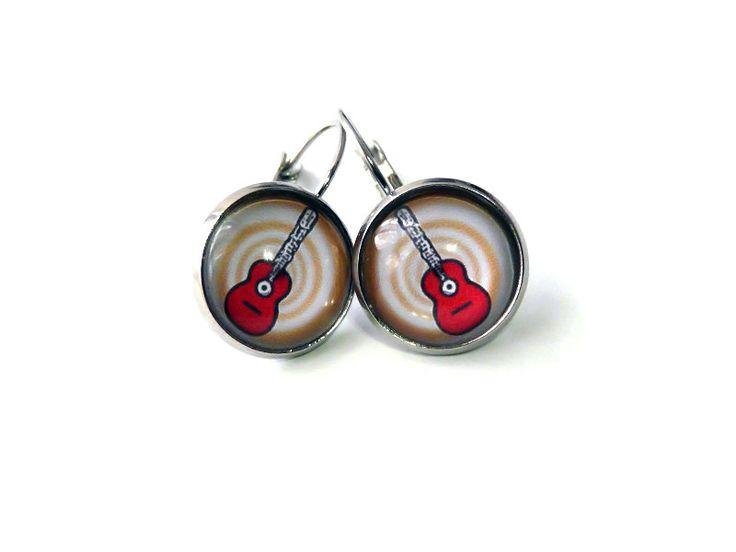 Cabochon Schmuck - Ohrringe mit roter Gitarre - ein Designerstück von csoMunich bei DaWanda