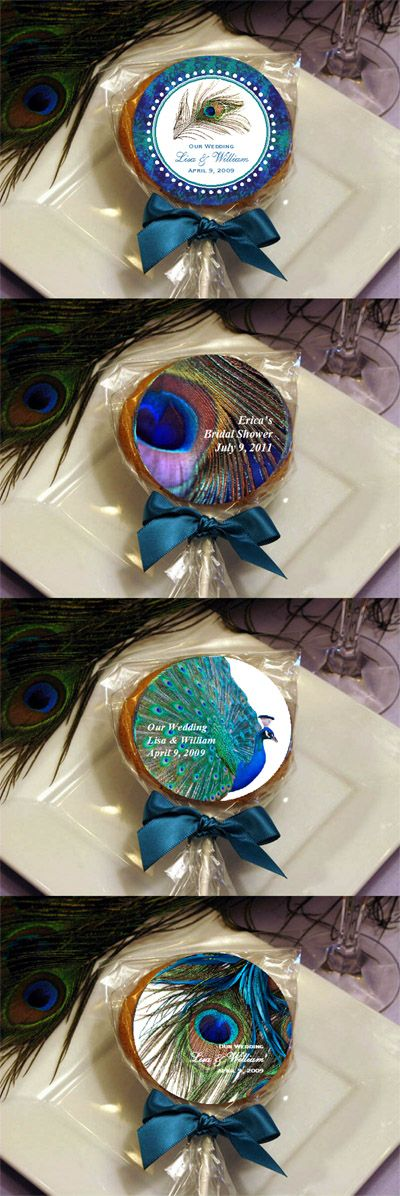 Peacock Wedding Favors | LMK Gifts Peacock Wedding cookie pop favors
