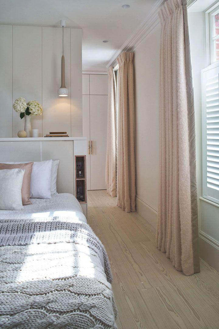 Bedroom Bespoke Joinery designed by Robinson van Noort - Contemporary Residential Design, London - Barnes, London - Headboard - bedside shelving solution - wardrobe - panels