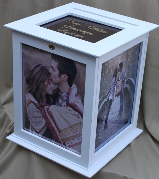 Wedding card box. This is super cute with picture's of them. Just need a larger box. With BrEny's colors