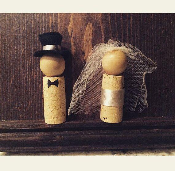 Wine Cork Bride and Groom Ornament or by KristinsCraftyCorner