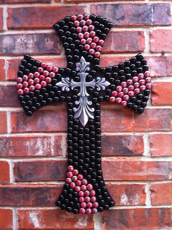 Embellished Black and Red Wall Cross by TraceysCrossing on Etsy, $65.00