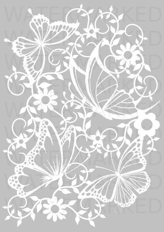 Butterflies paper cutting template A4 by SayItWithSilhouettes                                                                                                                                                                                 More