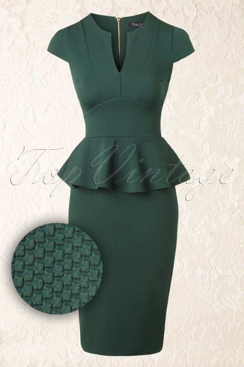 Vintage Chic Racing Green Peplum Pencil Dress
