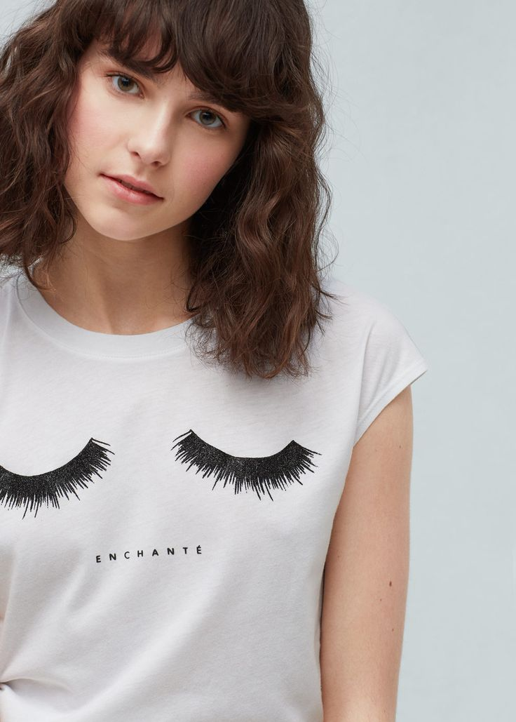 Glitter print t-shirt - T-shirts for Women | MANGO USA