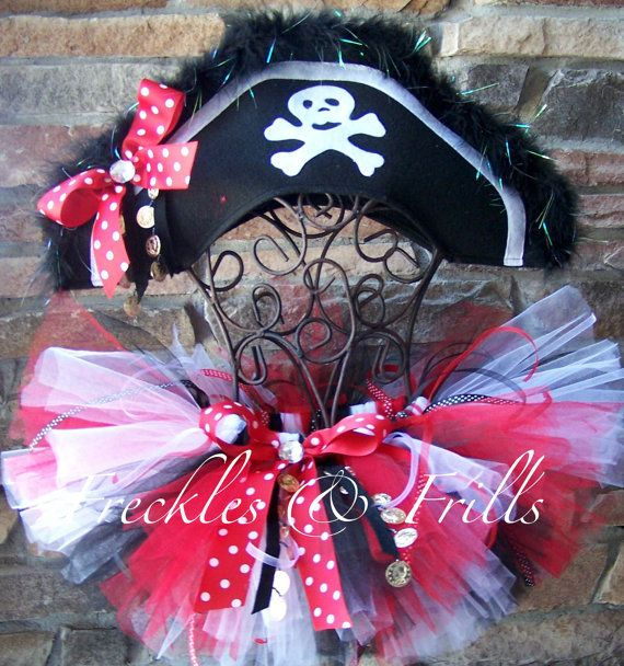 """Pirate Halloween Costume for little girl. @Vicky Lee Robinette - this would be cute for """"pirate night"""" on the ship! :)"""