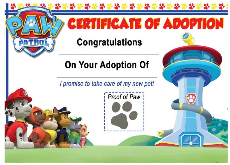 Paw Patrol Birthday Party Adopt a puppy certificate (Instant Download) by TagsforTots on Etsy https://www.etsy.com/listing/259702344/paw-patrol-birthday-party-adopt-a-puppy
