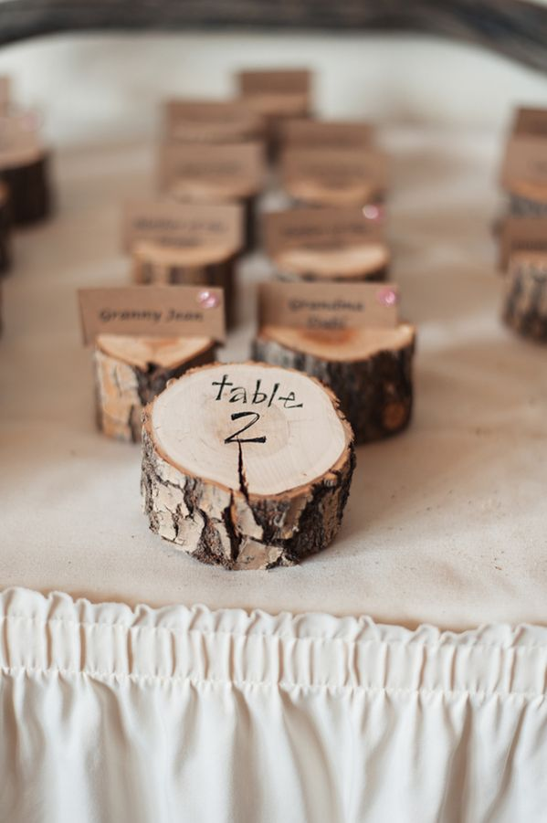 Wooden stump escort card holders