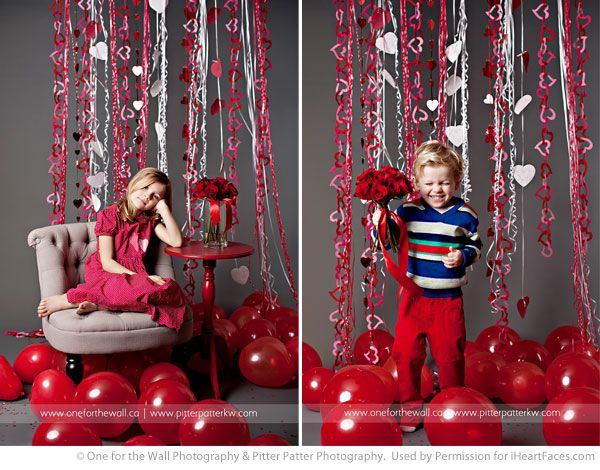Valentines Posing Ideas for Kids via iHeartFaces.com - Photographer friends Hilary of oneforthewall.ca and Michelle of pitterpatterkw.com recently teamed up to offer a weekend of Valentine mini-sessions.