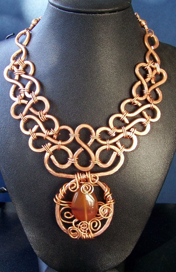Handmade Copper and Carnelian Statement Necklace by MontourDesigns