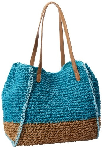 Amazon.com: Magid Two Tone Paper Straw Tote,Turquoise/Toast,One Size: Shoes