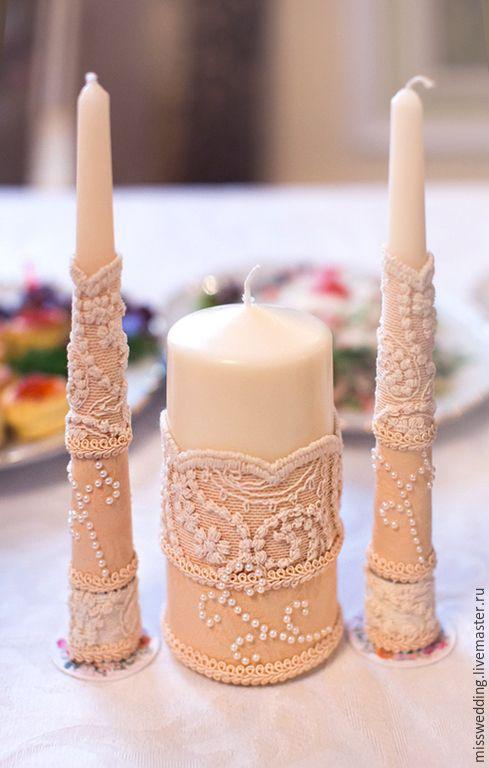 """Купить Свадебные свечи, домашний очаг """"Нежность"""" - разноцветный, айвори, свадьба, свадебные аксессуары"""
