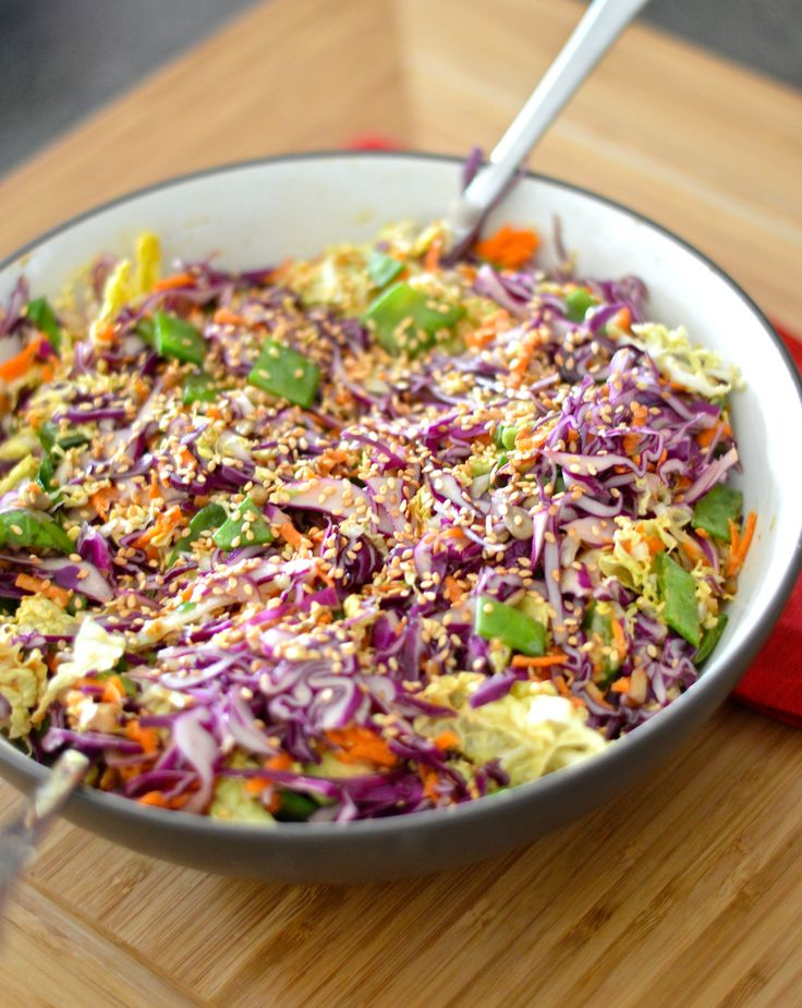 Crunchy cabbage salad with spicy peanut dressing. Month 5 - week 4.