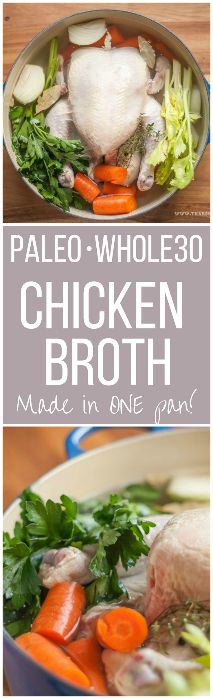 A very easy One Pot recipe for homemade Paleo Chicken Broth (& Whole 30) that's a great alternative to  the store bought varieties | Whole30 | Gluten Free
