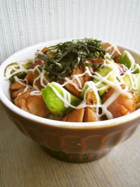 アボカド×ウインナーの山葵醤油丼