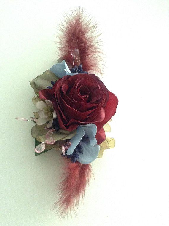 Red Rose Silk Hair Clip Vintage Look Hair Flower Silk Hair Clip