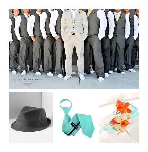 Groomsmen with a darker shade of grey than the groom with the tiffany blue tie