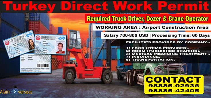 """TURKEY JOB-WORK PERMIT♻  Manpower Supply Chain Company), are recruiting the enclosed category of manpower on behalf of our Esteemed Clients for a World's Biggest Airport Construction based in """"Turkey"""".  🔰JOBS AVAILABLE : Truck Driver, Dozer & Crane Operator.  🔰VISA : Direct Work Permit.  🔰WORKING AREA : Airport Construction Area.  🔰JOB CATEGORY SALARY : 1) Truck Driver = $700 USD. 2) Others = $800 USD.  🔰TOTAL VACANCIES : 100 Workers.  🔰WORKING : WEEKLY 6 DAYS.  🔰DUTY HOURS : 10…"""