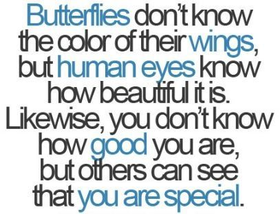 butterflies don't know the color of their wimgs, but human eyes know how beautiful it is. Likewise, you don't know how good you are, but others can see that uou are special.