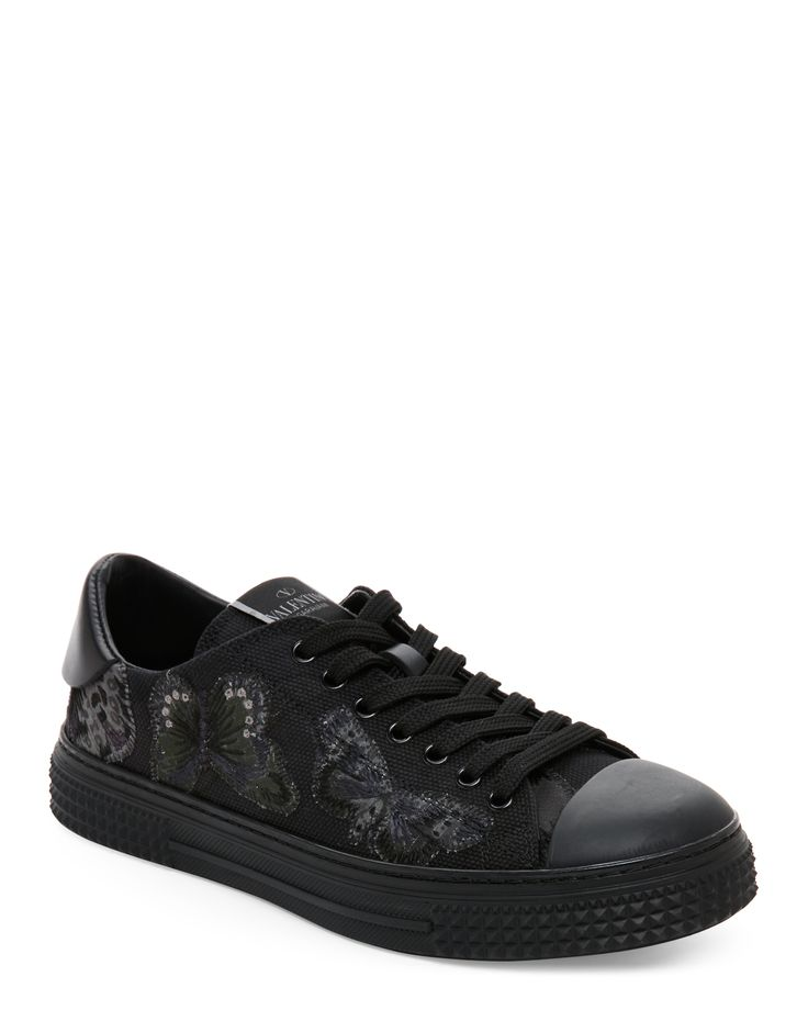 Valentino Garavani Black & Olive Camubutterfly Low Top Sneakers
