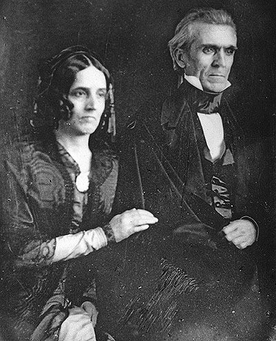 President James K. Polk and First Lady Sarah Childress Polk. They were the first First Family to be photographed while in office.  In office 1845-1849.  He died of cholera just three months after leaving office.