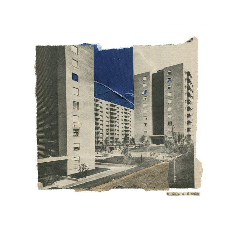 """""""la piedra, en el agujero"""". Collage inspirado en la letra """"La parte de atrás"""" de Los Rodriguez. HOY en la sala SIROCO de Madrid, participando de la expo colectiva en homenaje al primer disco de la banda.  www.nataliaromay.com"""