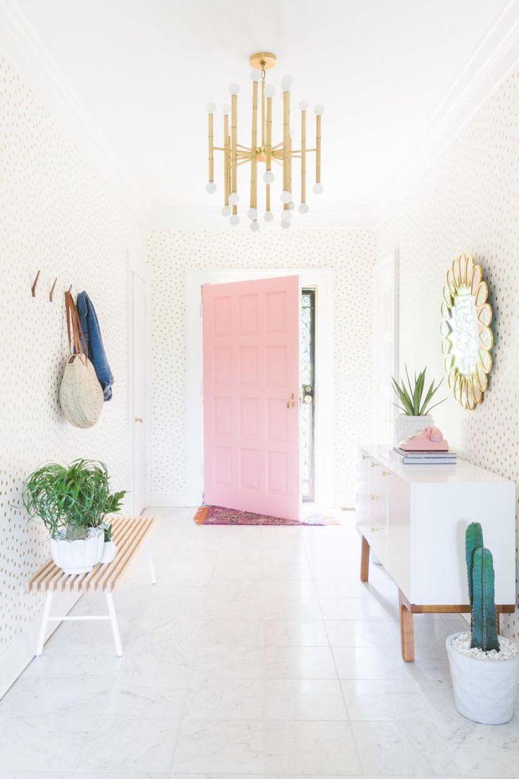 Inspiring Pastel Pink Door Entryway With Cactus And Gold Polka Dot Wallpaper Via Alyssa Rosenheck Desing Ideas