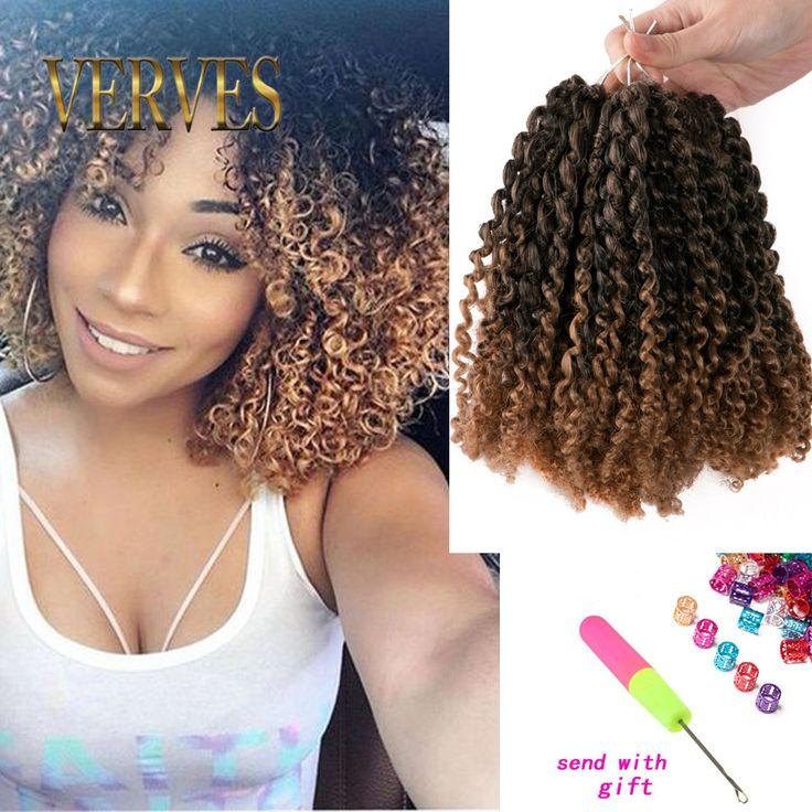 3 pcs/set sintetis Keriting Putar kepang crochet 8 inch keriting gaya rambut pirang ombre mengepang rambut keriting Crochet Hair Extensions