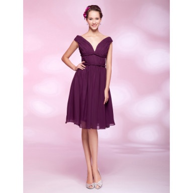 A-line Off-the-shoulder Knee-length Chiffon Cocktail Dress – US$ 129.99