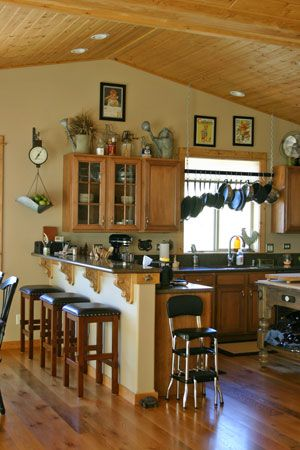 Antique White Kitchen with pine wood ceiling | and wire ...